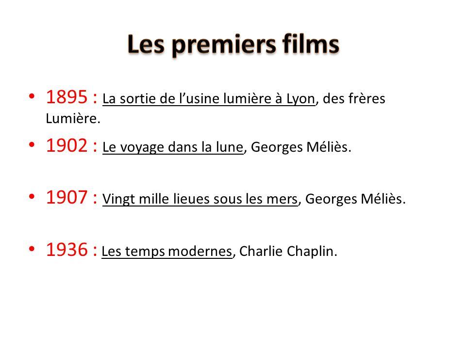 1895 : La sortie de l'usine lumière à Lyon, des frères Lumière. 1902 : Le voyage dans la lune, Georges Méliès. 1907 : Vingt mille lieues sous les mers