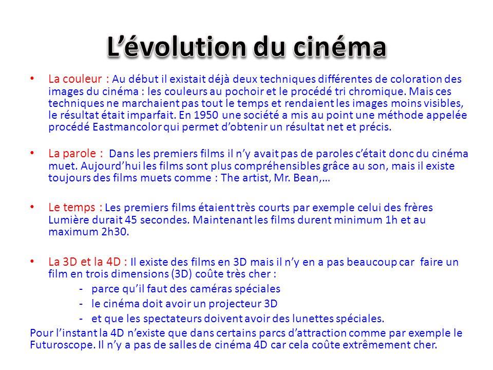 La couleur : Au début il existait déjà deux techniques différentes de coloration des images du cinéma : les couleurs au pochoir et le procédé tri chro