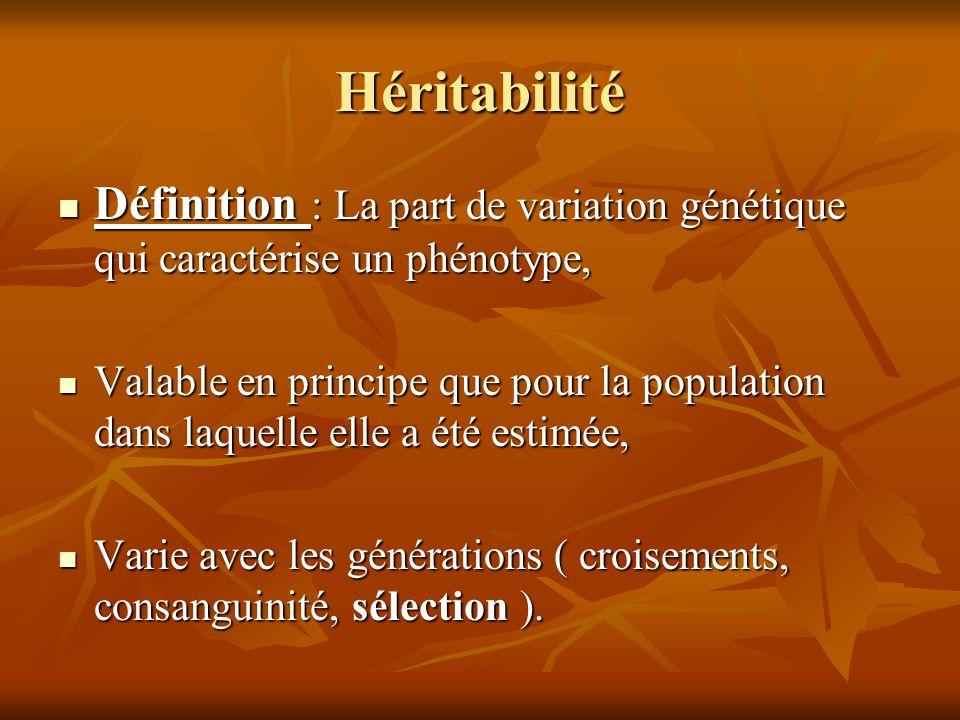 Héritabilité Définition : La part de variation génétique qui caractérise un phénotype, Définition : La part de variation génétique qui caractérise un