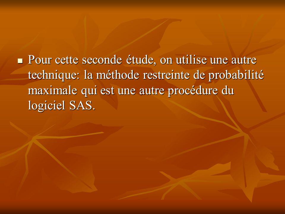 Pour cette seconde étude, on utilise une autre technique: la méthode restreinte de probabilité maximale qui est une autre procédure du logiciel SAS. P