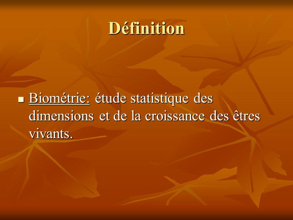 Définition Biométrie: étude statistique des dimensions et de la croissance des êtres vivants. Biométrie: étude statistique des dimensions et de la cro