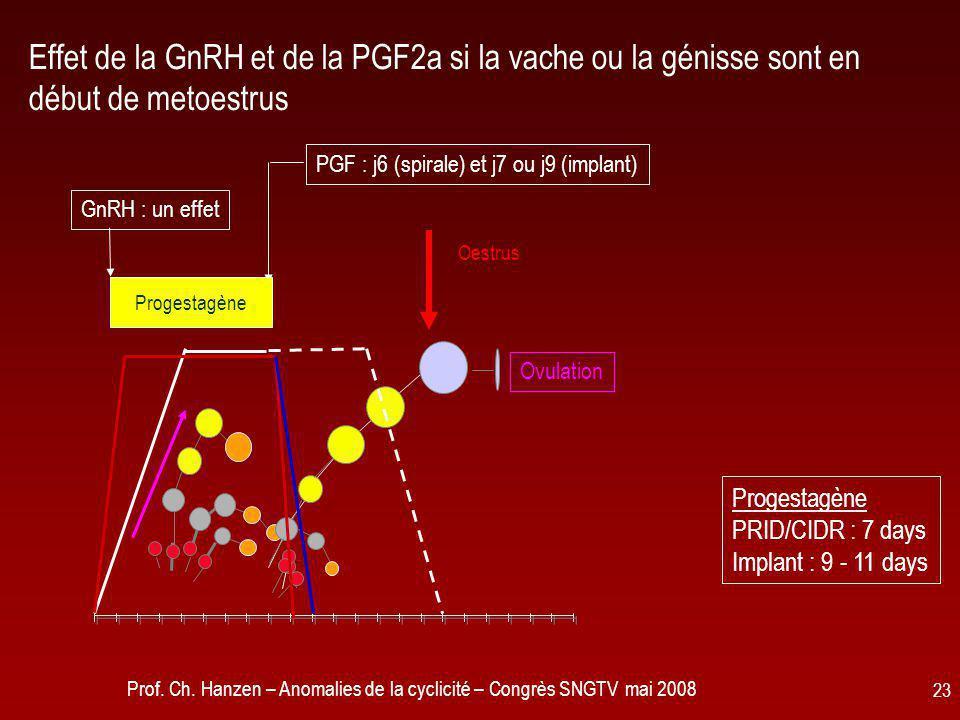 Prof. Ch. Hanzen – Anomalies de la cyclicité – Congrès SNGTV mai 2008 23 Effet de la GnRH et de la PGF2a si la vache ou la génisse sont en début de me