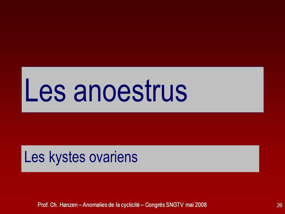 Prof. Ch. Hanzen – Anomalies de la cyclicité – Congrès SNGTV mai 2008 26 Les anoestrus Les kystes ovariens