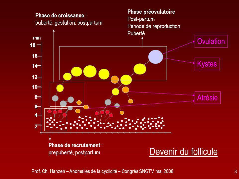Prof. Ch. Hanzen – Anomalies de la cyclicité – Congrès SNGTV mai 2008 3 mm 2 8 10 12 14 16 18 4 6 Phase de recrutement : prepuberté, postpartum Phase