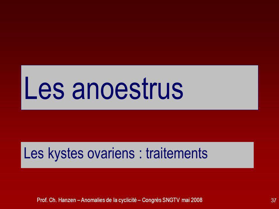 Prof. Ch. Hanzen – Anomalies de la cyclicité – Congrès SNGTV mai 2008 37 Les anoestrus Les kystes ovariens : traitements