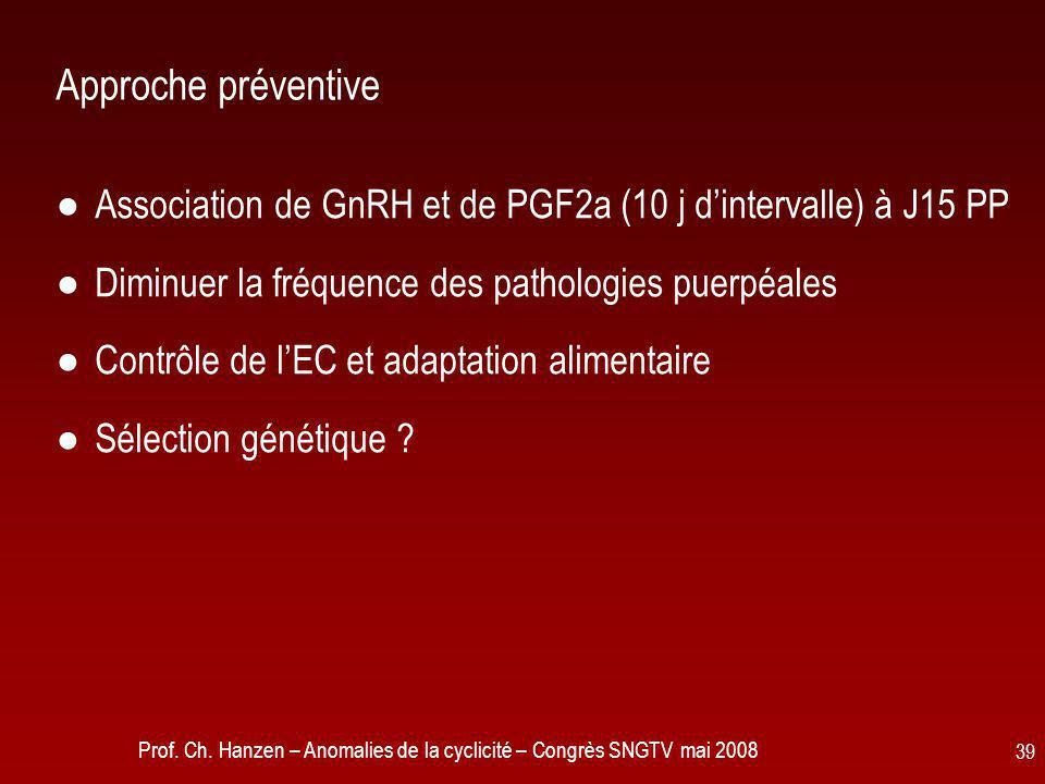 Prof. Ch. Hanzen – Anomalies de la cyclicité – Congrès SNGTV mai 2008 39 Approche préventive ●Association de GnRH et de PGF2a (10 j d'intervalle) à J1