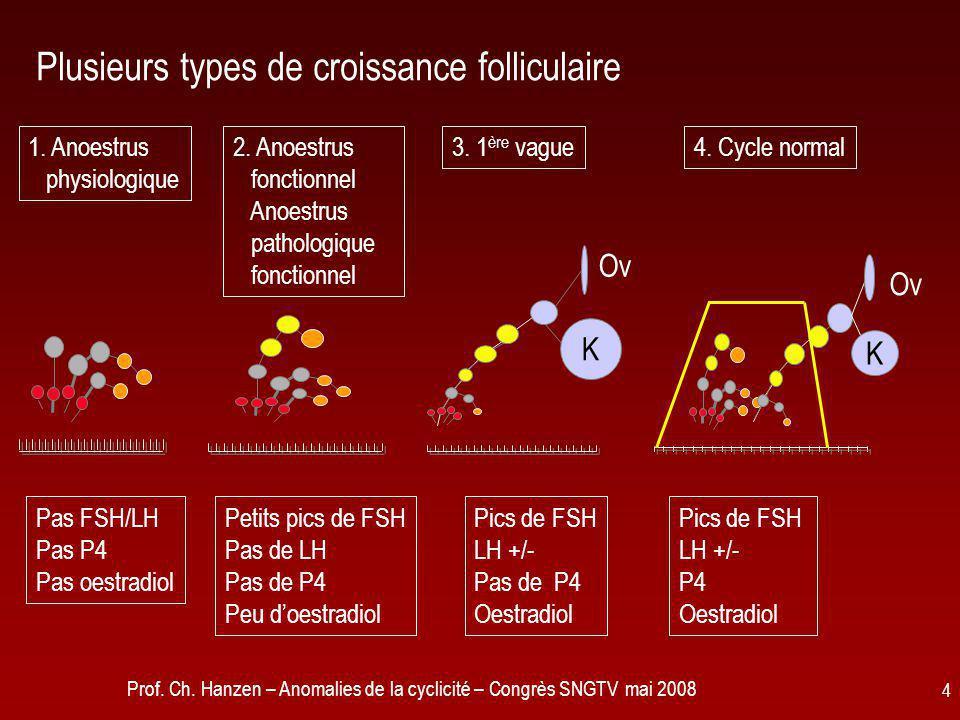 Prof. Ch. Hanzen – Anomalies de la cyclicité – Congrès SNGTV mai 2008 4 Plusieurs types de croissance folliculaire 1. Anoestrus physiologique Pas FSH/