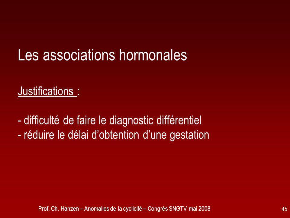 Prof. Ch. Hanzen – Anomalies de la cyclicité – Congrès SNGTV mai 2008 45 Les associations hormonales Justifications : - difficulté de faire le diagnos