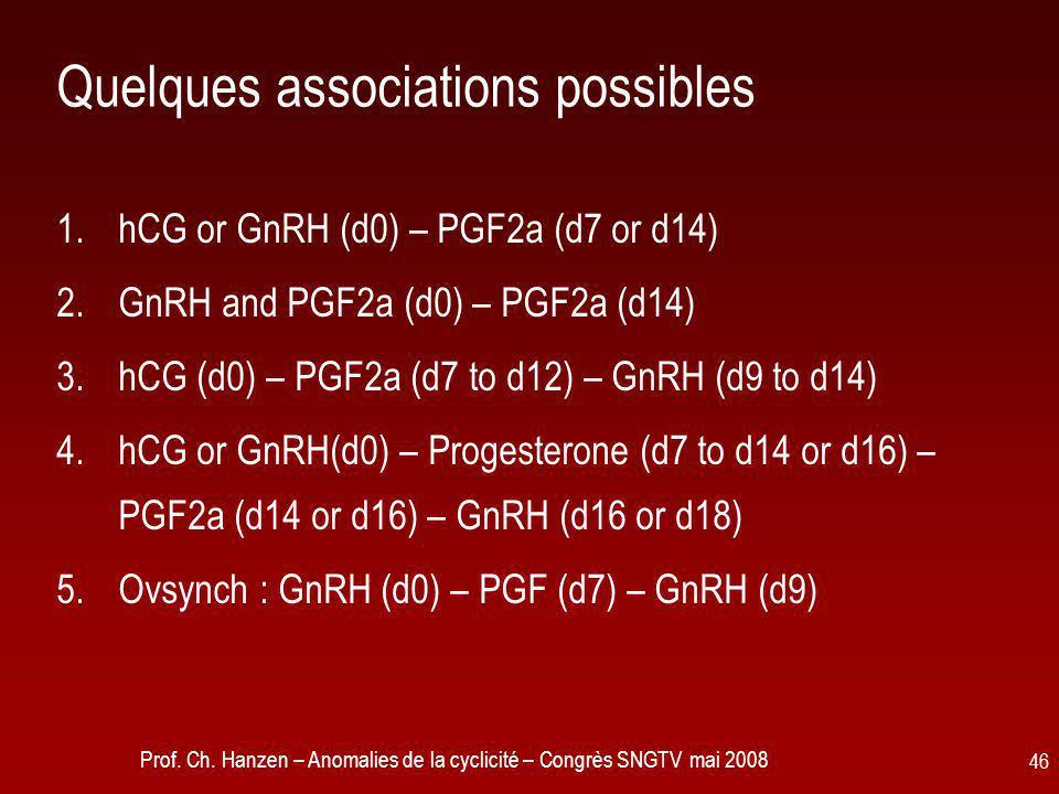 Prof. Ch. Hanzen – Anomalies de la cyclicité – Congrès SNGTV mai 2008 46 Quelques associations possibles 1.hCG or GnRH (d0) – PGF2a (d7 or d14) 2.GnRH
