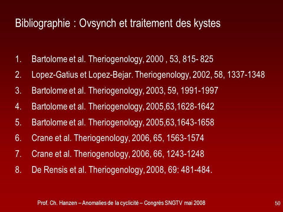 Prof. Ch. Hanzen – Anomalies de la cyclicité – Congrès SNGTV mai 2008 50 Bibliographie : Ovsynch et traitement des kystes 1.Bartolome et al. Theriogen