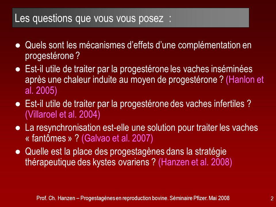 Prof. Ch. Hanzen – Progestagènes en reproduction bovine. Séminaire Pfizer. Mai 2008 2 Les questions que vous vous posez : ●Quels sont les mécanismes d