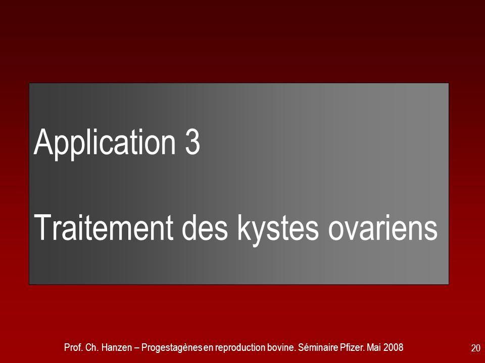 Prof. Ch. Hanzen – Progestagènes en reproduction bovine. Séminaire Pfizer. Mai 2008 20 Application 3 Traitement des kystes ovariens