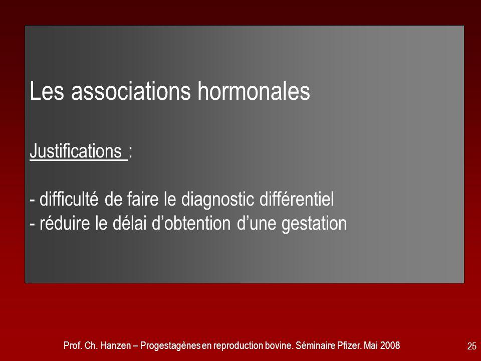 Prof. Ch. Hanzen – Progestagènes en reproduction bovine. Séminaire Pfizer. Mai 2008 25 Les associations hormonales Justifications : - difficulté de fa