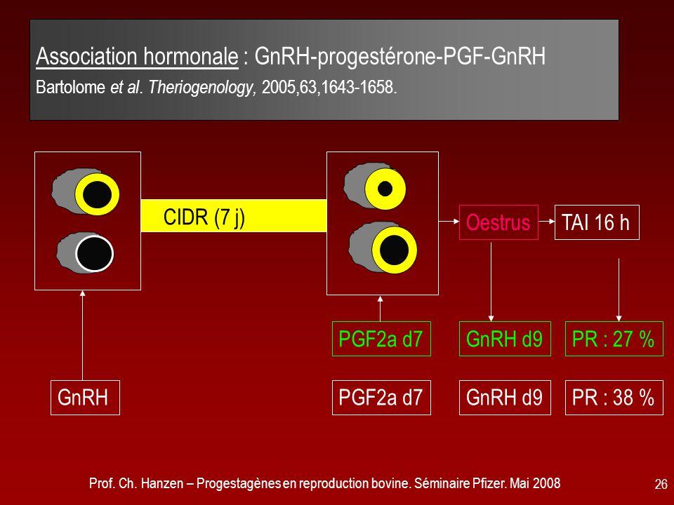 Prof. Ch. Hanzen – Progestagènes en reproduction bovine. Séminaire Pfizer. Mai 2008 26 Association hormonale : GnRH-progestérone-PGF-GnRH Bartolome et