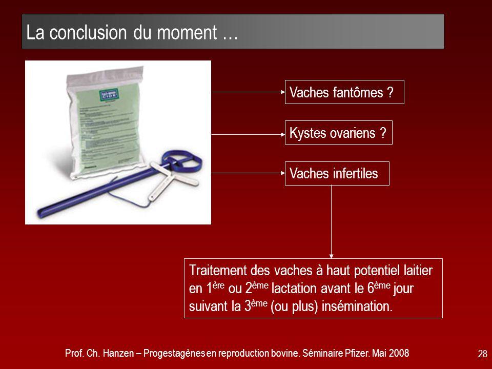 Prof. Ch. Hanzen – Progestagènes en reproduction bovine. Séminaire Pfizer. Mai 2008 28 La conclusion du moment … Traitement des vaches à haut potentie