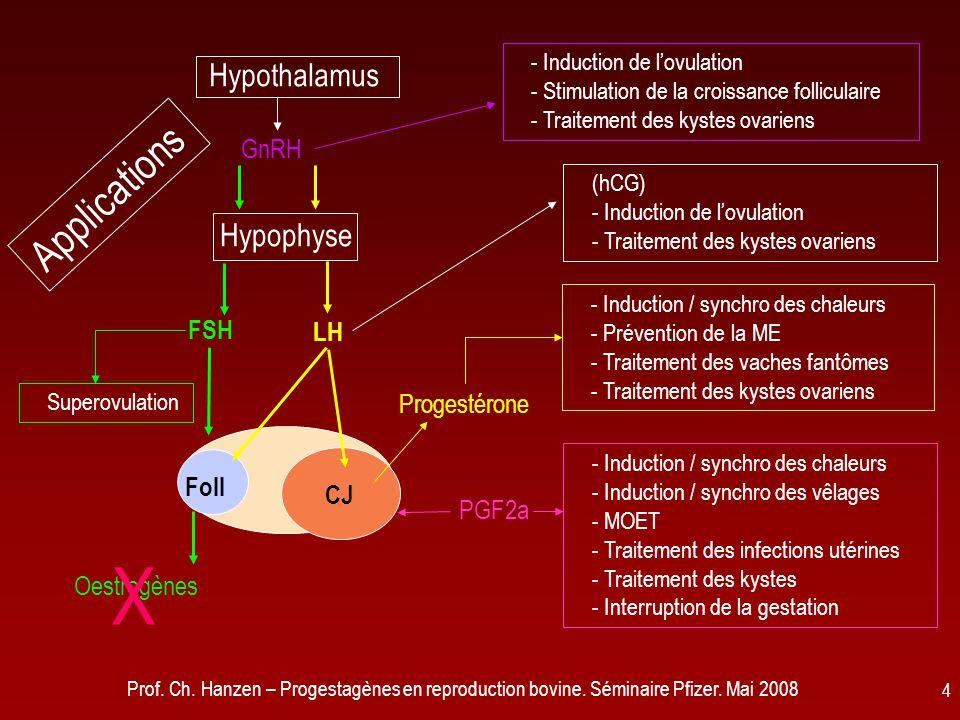 Prof. Ch. Hanzen – Progestagènes en reproduction bovine. Séminaire Pfizer. Mai 2008 4 CJ Foll Hypophyse Hypothalamus Oestrogènes Progestérone LH PGF2a
