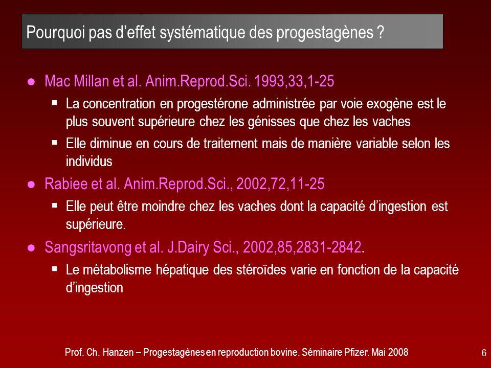 Prof. Ch. Hanzen – Progestagènes en reproduction bovine. Séminaire Pfizer. Mai 2008 6 Pourquoi pas d'effet systématique des progestagènes ? ●Mac Milla