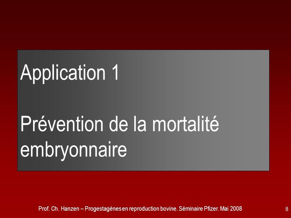 Prof. Ch. Hanzen – Progestagènes en reproduction bovine. Séminaire Pfizer. Mai 2008 8 Application 1 Prévention de la mortalité embryonnaire