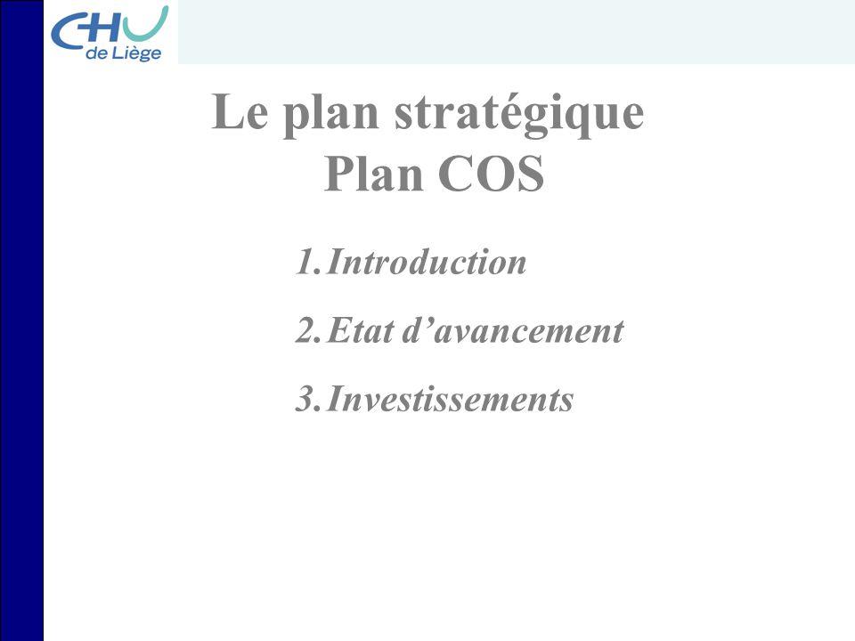 Le plan stratégique Plan COS 1.Introduction 2.Etat d'avancement 3.Investissements