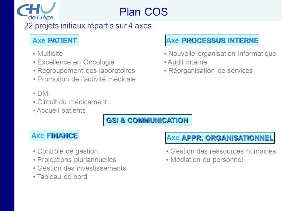 Plan COS PATIENT Axe PATIENT FINANCE Axe FINANCE PROCESSUS INTERNE Axe PROCESSUS INTERNE APPR. ORGANISATIONNEL Axe APPR. ORGANISATIONNEL Nouvelle orga