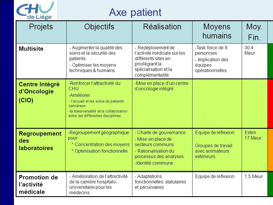 Axe patient ProjetsObjectifsRéalisationMoyens humains Moy. Fin. Multisite - Augmenter la qualité des soins et la sécurité des patients - Optimiser les