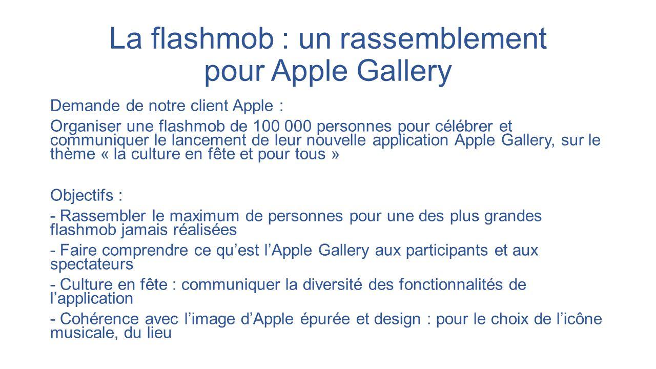 La flashmob : un rassemblement pour Apple Gallery Demande de notre client Apple : Organiser une flashmob de 100 000 personnes pour célébrer et communi
