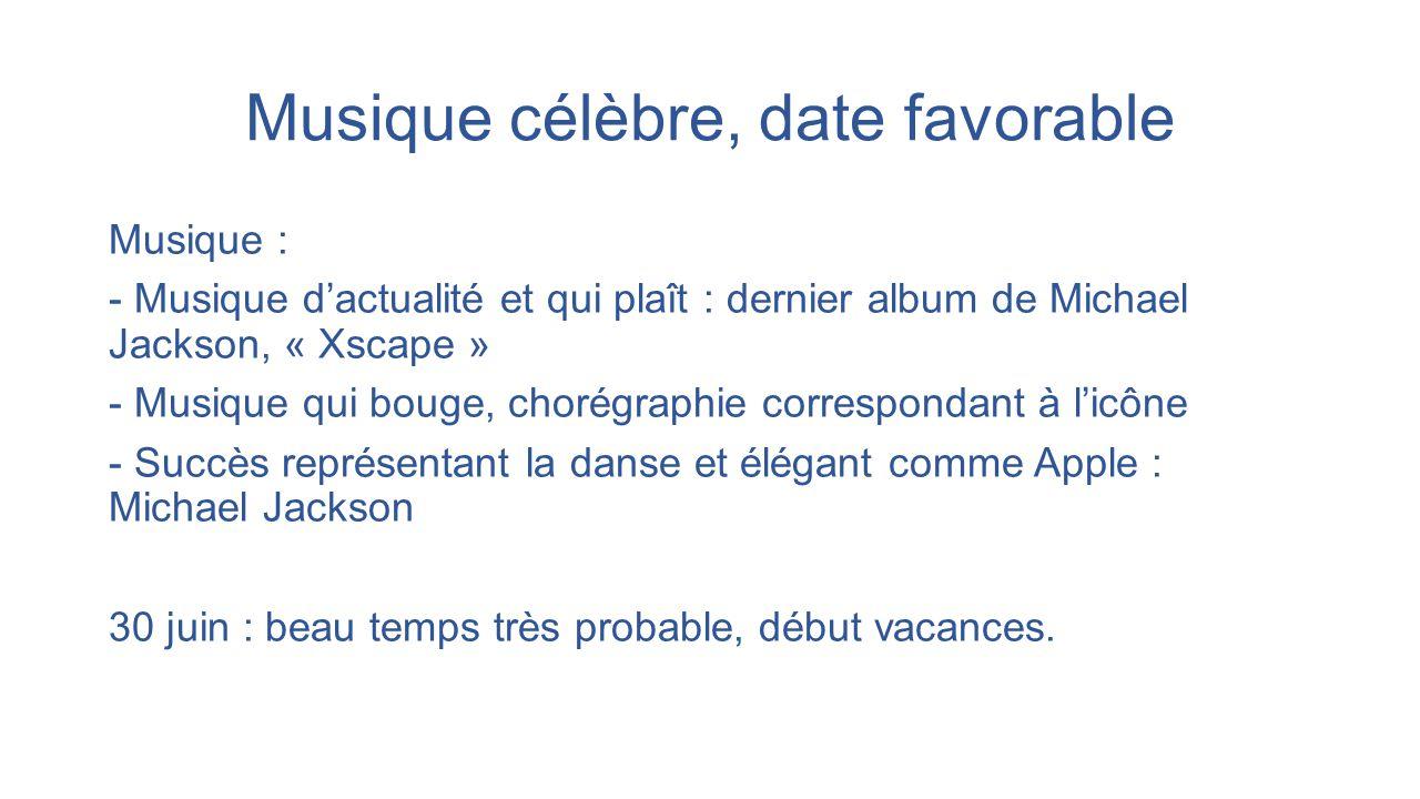 Musique célèbre, date favorable Musique : - Musique d'actualité et qui plaît : dernier album de Michael Jackson, « Xscape » - Musique qui bouge, choré