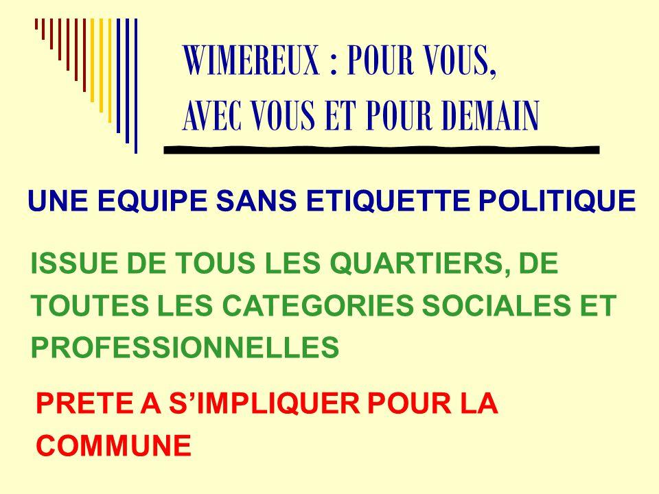 UNE EQUIPE SANS ETIQUETTE POLITIQUE WIMEREUX : POUR VOUS, AVEC VOUS ET POUR DEMAIN ISSUE DE TOUS LES QUARTIERS, DE TOUTES LES CATEGORIES SOCIALES ET PROFESSIONNELLES PRETE A S'IMPLIQUER POUR LA COMMUNE