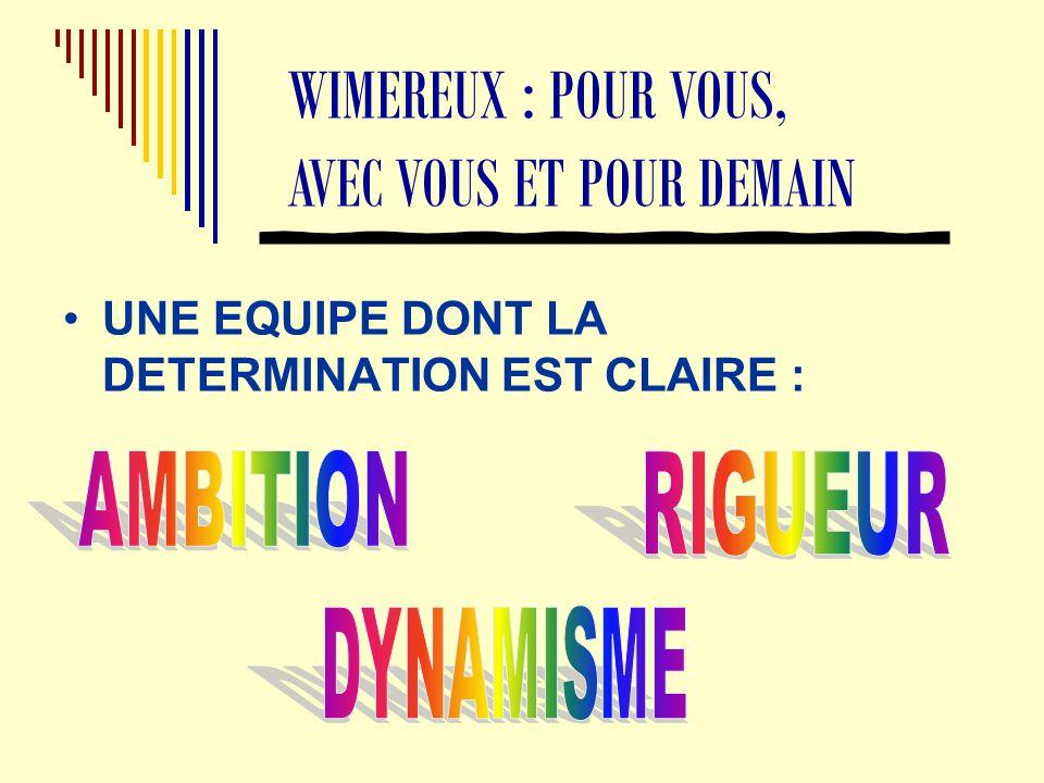 UNE EQUIPE DONT LA DETERMINATION EST CLAIRE : WIMEREUX : POUR VOUS, AVEC VOUS ET POUR DEMAIN