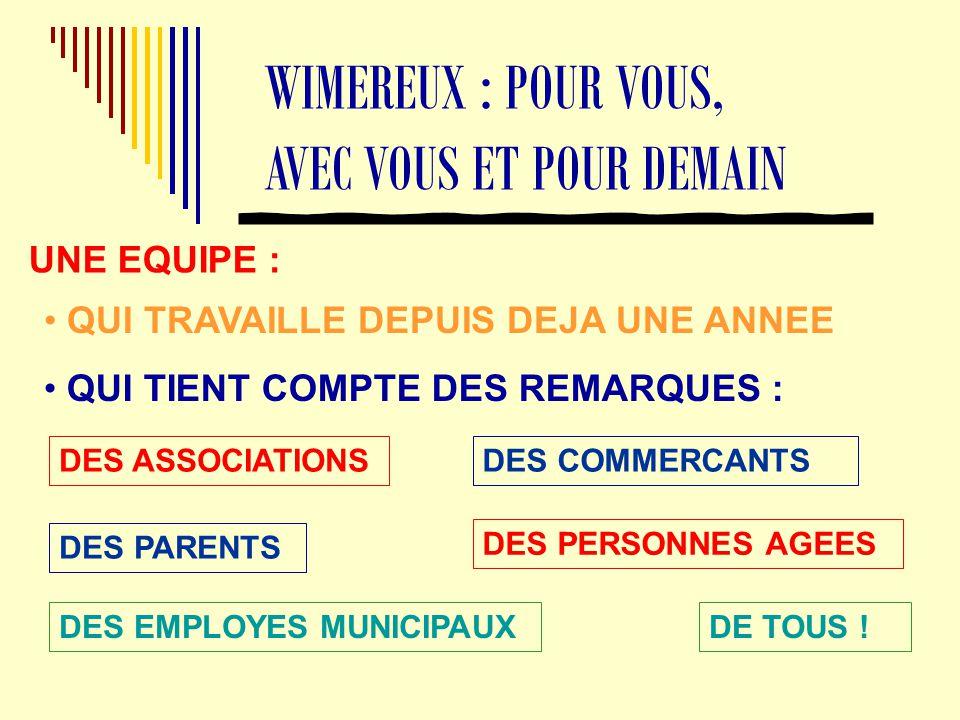 WIMEREUX : POUR VOUS, AVEC VOUS ET POUR DEMAIN UNE EQUIPE : QUI TIENT COMPTE DES REMARQUES : QUI TRAVAILLE DEPUIS DEJA UNE ANNEE DES ASSOCIATIONS DES PARENTS DES EMPLOYES MUNICIPAUX DES COMMERCANTS DES PERSONNES AGEES DE TOUS !