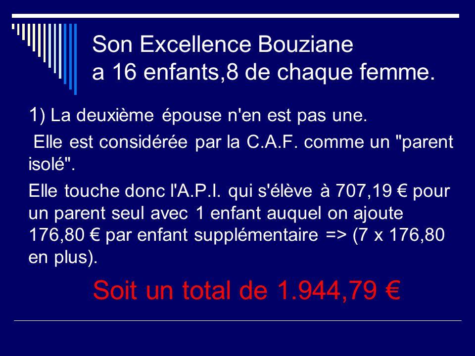 Son Excellence Bouziane a 16 enfants,8 de chaque femme.