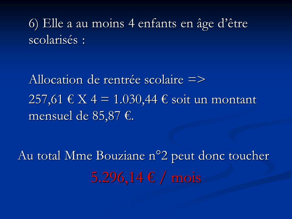 6) Elle a au moins 4 enfants en âge d'être scolarisés : Allocation de rentrée scolaire => 257,61 € X 4 = 1.030,44 € soit un montant mensuel de 85,87 €.