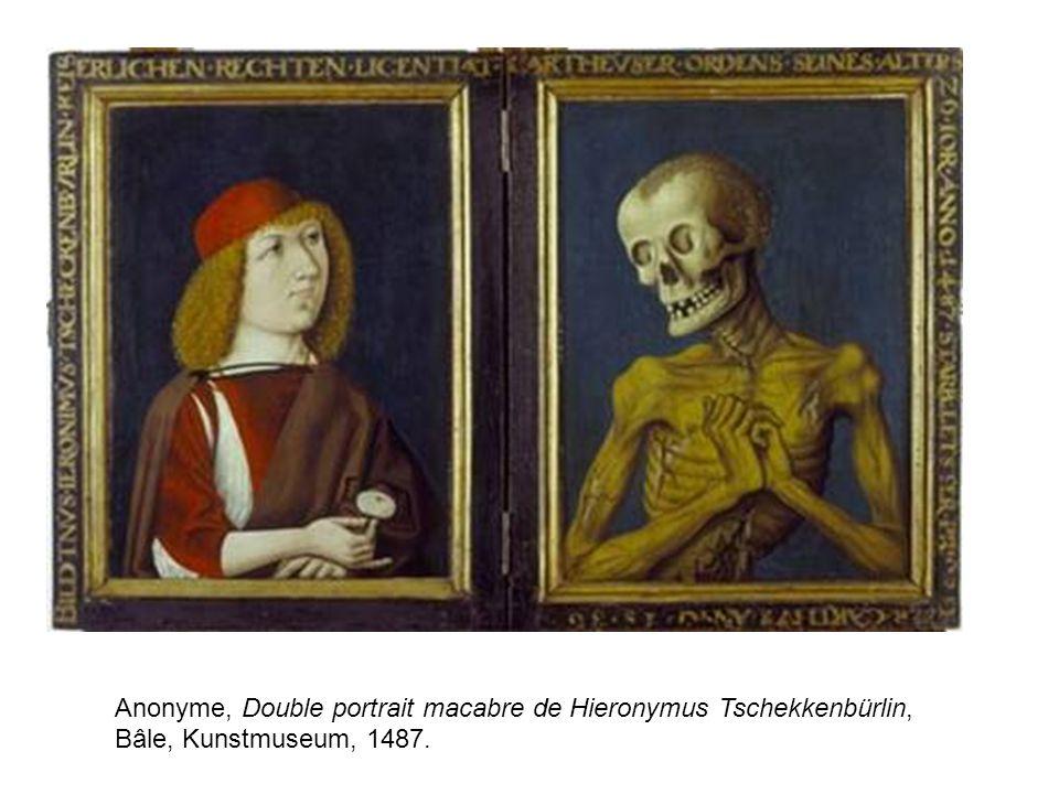 Anonyme, Double portrait macabre de Hieronymus Tschekkenbürlin, Bâle, Kunstmuseum, 1487.