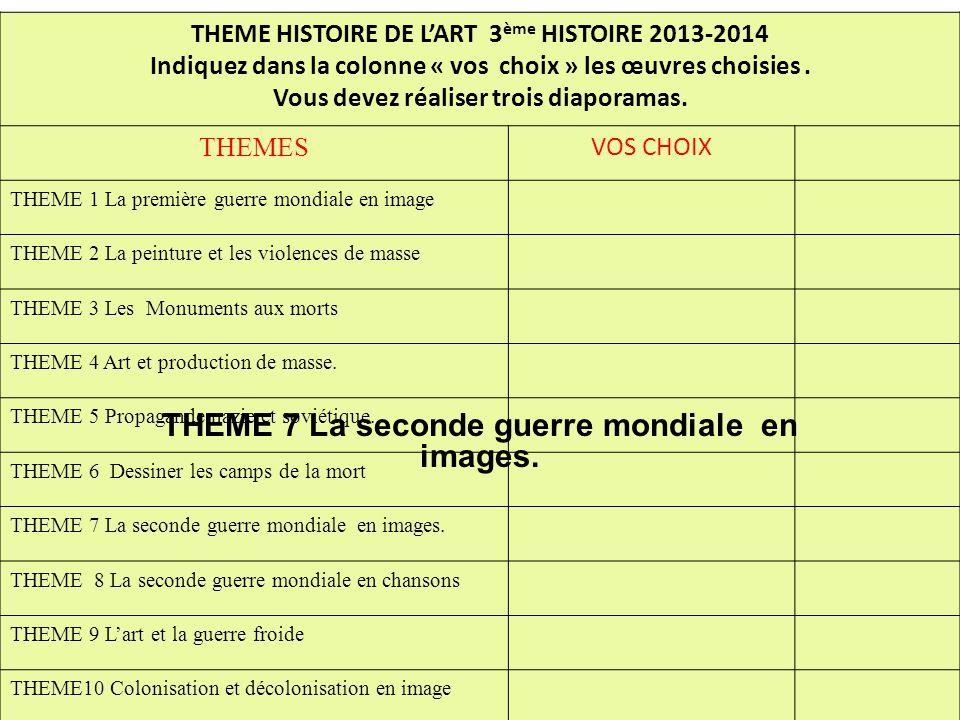 THEME HISTOIRE DE L'ART 3 ème HISTOIRE 2013-2014 Indiquez dans la colonne « vos choix » les œuvres choisies. Vous devez réaliser trois diaporamas. THE