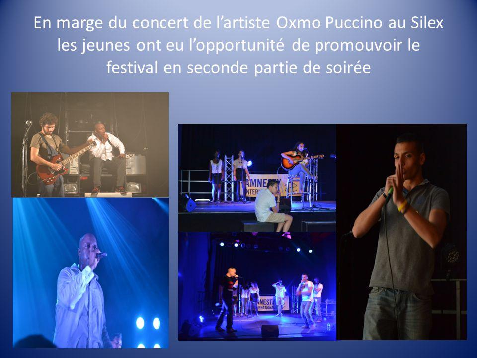 En marge du concert de l'artiste Oxmo Puccino au Silex les jeunes ont eu l'opportunité de promouvoir le festival en seconde partie de soirée