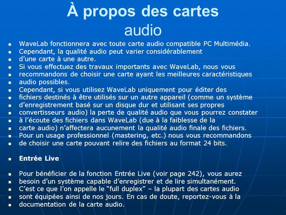 À propos des cartes audio WaveLab fonctionnera avec toute carte audio compatible PC Multimédia.