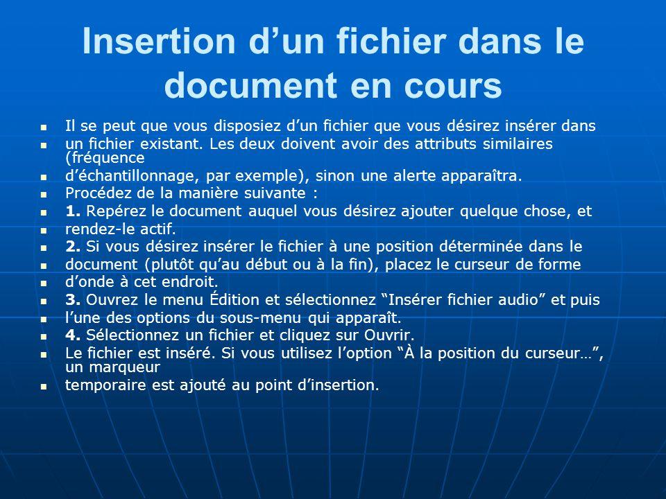 Insertion d'un fichier dans le document en cours Il se peut que vous disposiez d'un fichier que vous désirez insérer dans un fichier existant.