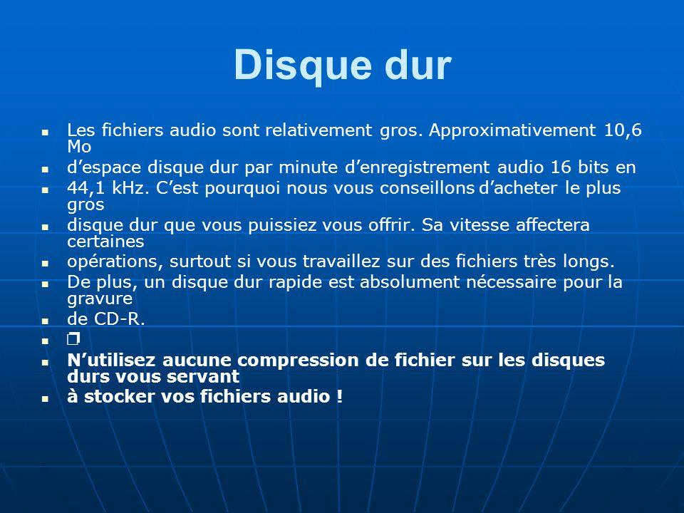 Disque dur Les fichiers audio sont relativement gros.