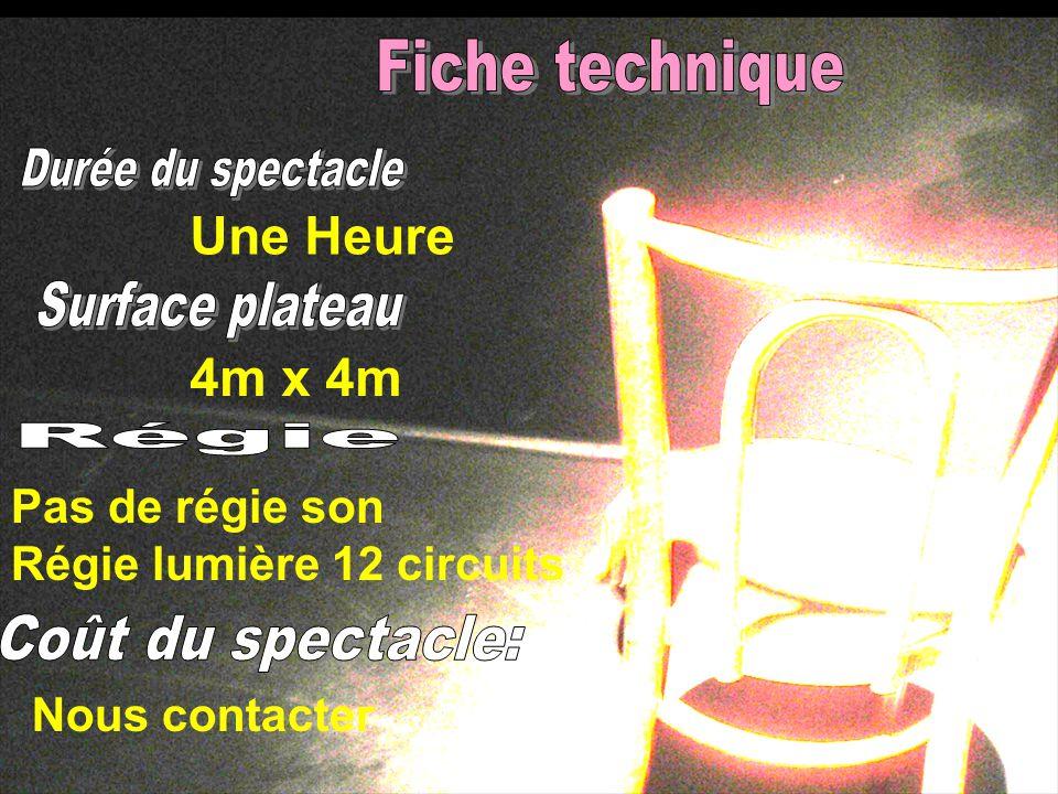 Une Heure Nous contacter 4m x 4m Pas de régie son Régie lumière 12 circuits