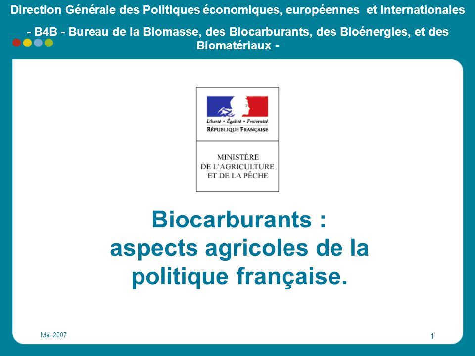 Mai 2007 22 Cet objectif représente: - Environ 3.5 MT de biocarburants (80% de biodiesel), - 40 unités industrielles en France (+ de 20 nouvelles) - Environ 2 millions ha :.