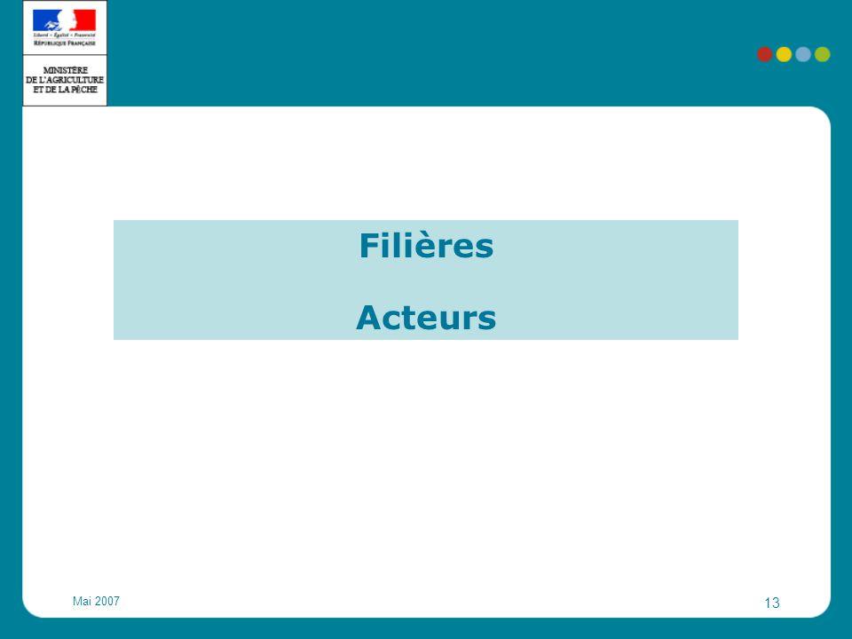 Mai 2007 13 Filières Acteurs