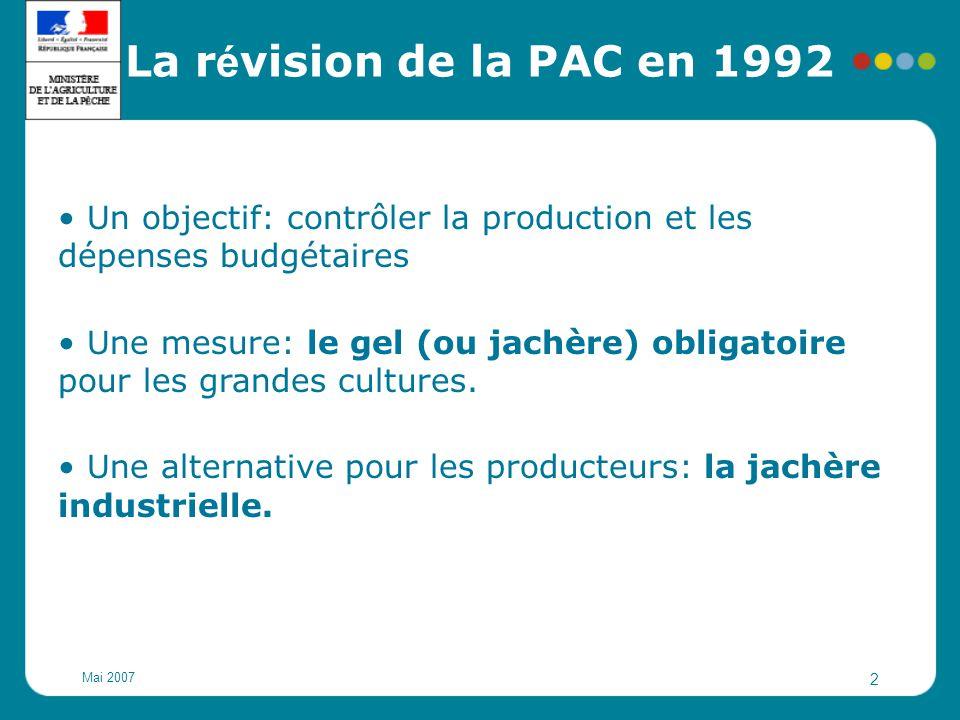 Mai 2007 2 Un objectif: contrôler la production et les dépenses budgétaires Une mesure: le gel (ou jachère) obligatoire pour les grandes cultures. Une