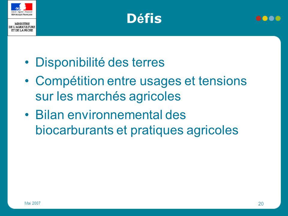 Mai 2007 20 D é fis Disponibilité des terres Compétition entre usages et tensions sur les marchés agricoles Bilan environnemental des biocarburants et
