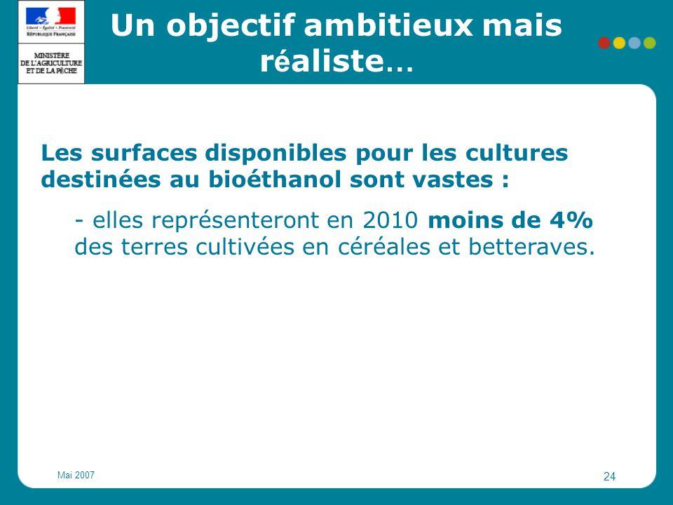 Mai 2007 24 Les surfaces disponibles pour les cultures destinées au bioéthanol sont vastes : - elles représenteront en 2010 moins de 4% des terres cul