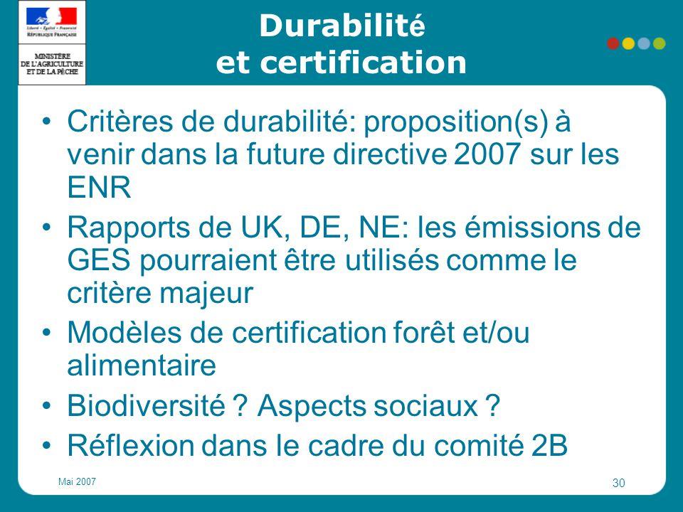 Mai 2007 30 Durabilit é et certification Critères de durabilité: proposition(s) à venir dans la future directive 2007 sur les ENR Rapports de UK, DE,