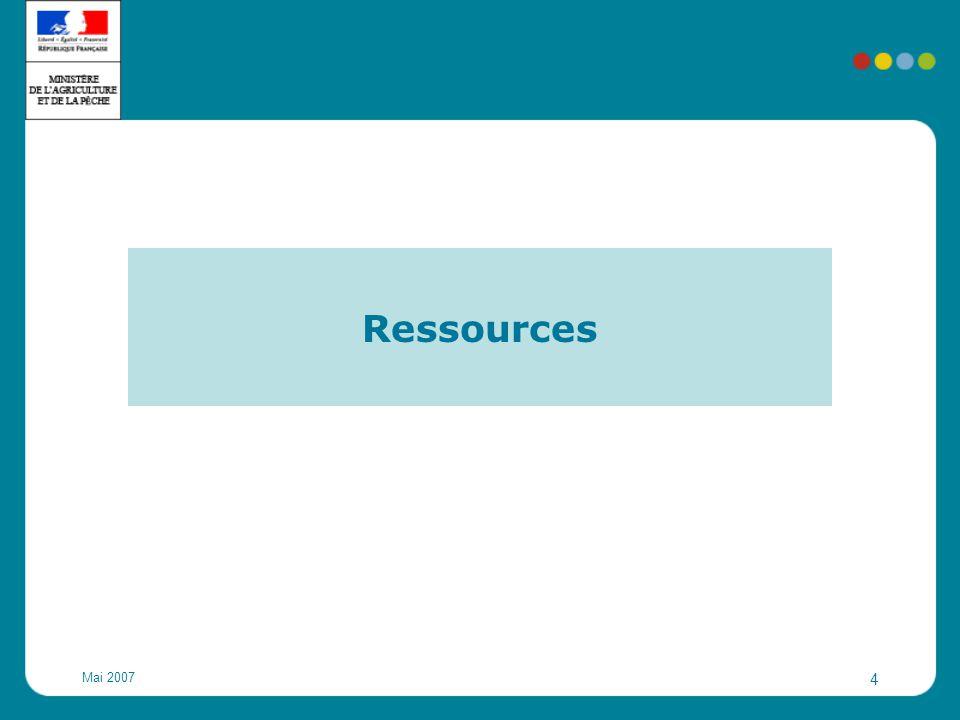 Mai 2007 5 Ressources actuelles