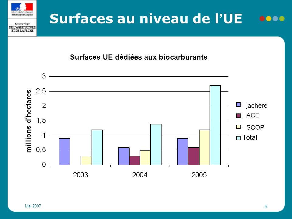 Mai 2007 10 Surfaces en France Surfaces françaises dédiées aux biocarburants