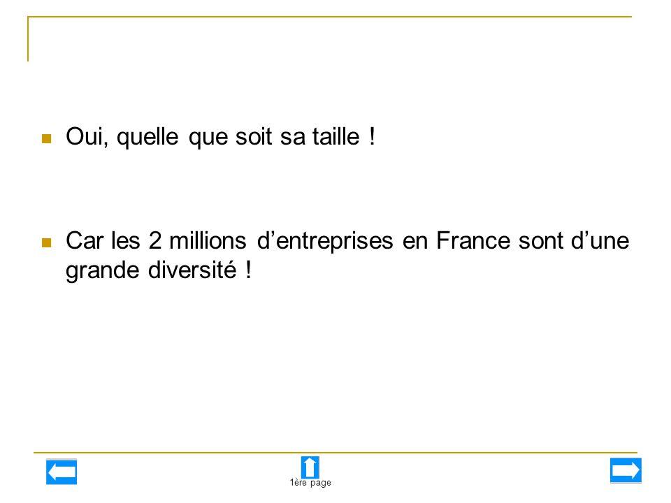 Oui, quelle que soit sa taille ! Car les 2 millions d'entreprises en France sont d'une grande diversité ! 1ère page
