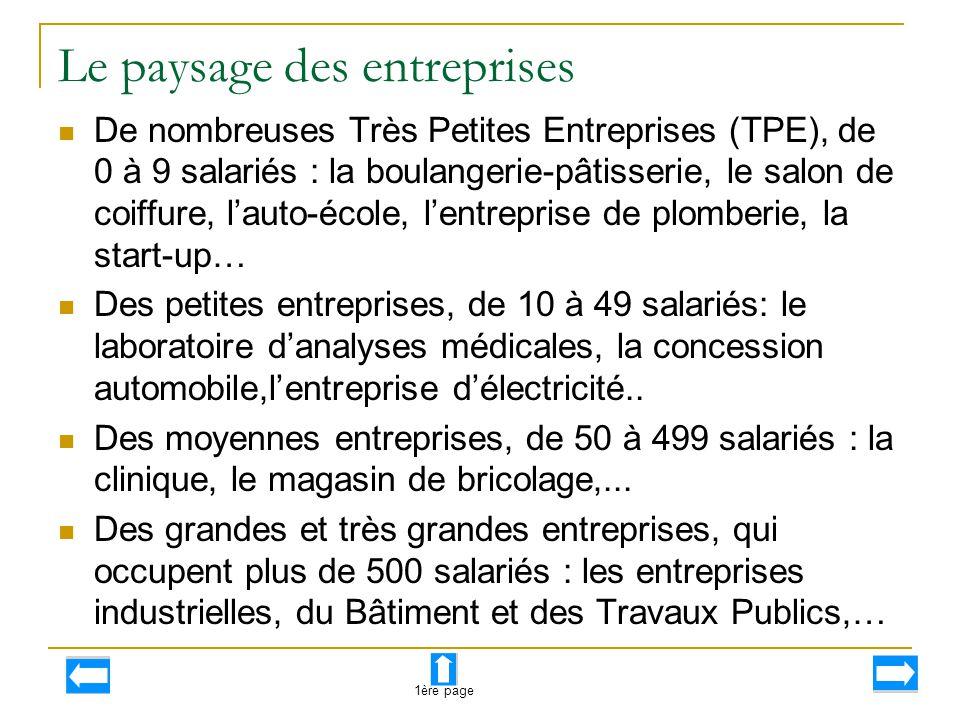 Le paysage des entreprises De nombreuses Très Petites Entreprises (TPE), de 0 à 9 salariés : la boulangerie-pâtisserie, le salon de coiffure, l'auto-é