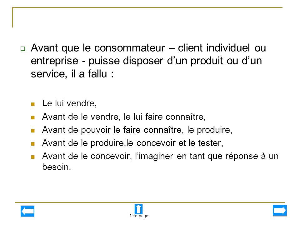  Avant que le consommateur – client individuel ou entreprise - puisse disposer d'un produit ou d'un service, il a fallu : Le lui vendre, Avant de le